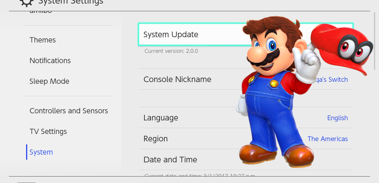 updatesystem Nintendo Switch