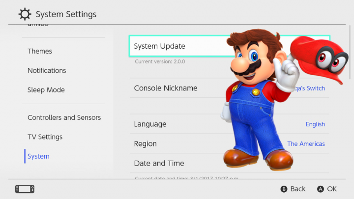 updatesystem Nintendo Switch